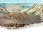 Mount St. Helens from Monitor Ridge showing the cone of devastation, the huge crater open to the north, the post-eruption lava dome inside and Crater Glacier surrounding the lava dome. The small photo on the left was taken from Spirit Lake before the erup
