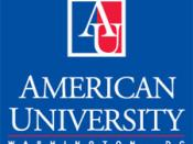 English: This image depicts the American University logo, its name, and its location in Washington, DC.