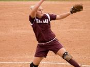 Aggie pitcher Megan Gibson pitches A&M to a Big 12 sofball victory over Iowa State, March 25th, 2007.