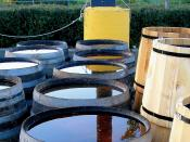 Rain barrels for collection of rainwater.