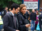 English: Mariska Hargitay and Danny Pino on the set of Law and Order: SVU,