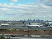 Newark Airport, NJ. Foreground: Terminal C; background: The borough of Manhattan