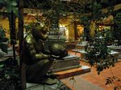 Stupas in the Monkey's garden, monket holding a fruit, hotel, Bodha, Kathmandu, Nepal