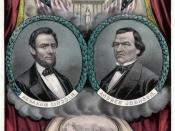 Currier and Ives print of the National Union Party presidential and vice presidential candidates, 1864. Lithograph and watercolor.
