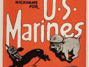 United States Marine Corps (USMC) World War I recruiting poster. A Marine bulldog chases a German dachshund, taking advantage of the German nickname for Marines as