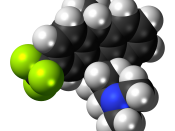 Space-filling model of the fluotracen molecule, a tricyclic antidepressant and antipsychotic drug. Colour code (click to show) : Black: Carbon, C : White: Hydrogen, H : Blue: Nitrogen, N : Yellow-green: Fluorine, F