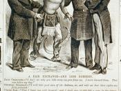 A fair exchange - and less robbery showing Indian holding scalp of Delano; Zach Chandler saying to Uncle Sam,