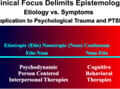 Summarizes how clinical focus determines epistemoligy on the Etiotropic to Nosotropic continuum for the address of psychological trauma and PTSD.
