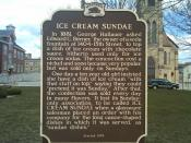 English: Wisconsin Historical Marker detailing Two Rivers as the locale of the invention of the ice cream sundae - Central Park, Two Rivers, WI