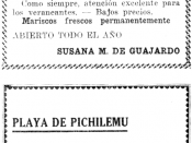 English: Some advertisements for Pichilemu hotels in 1935.