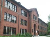 English: The front facade of Treadwell Hall on the campus of , . It is one of the main buildings used for classes.