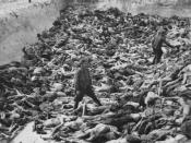 English: Mass Grave 3 of the , photographed by a British soldier after the camp's liberation in April 1945. Dr. Fritz Klein, a German doctor at the camp, can be seen in the foreground standing amongst the corpses. The Small Arms Range is visible in the ba