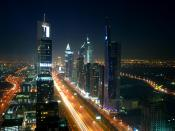Nightscape of the high-rise section of Dubai, Unitd Arab Emirates.