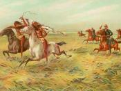 An 1899 chromolithograph of U.S. cavalry pursuing American Indians, artist unknown