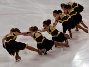 The Miami University Synchronized Skating Team's Junior Varsity team perform shoot-the-ducks during the 2007 Colonial Classic, the Junior World Qualifier.