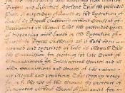 This is a closeup of the middle portion of the English Bill of Rights of 1689.