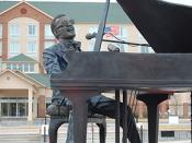 Ray Charles statue by American artist Andy Davis, centerpiece of Ray Charles Plaza, Albany Georgia.