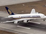 English: Singapore Airbus A380 Français : Un airbus A380 de la compagnie Singapore Airlines.