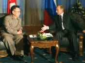 VLADIVOSTOK. President Putin talking with Kim Jong-Il, Chairman of the National Defence Commission of North Korea.