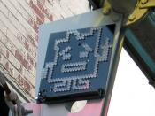 Aqua Teen Hunger Force promotional LED placed on a street in Cambridge, Massachusetts