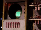 English: Photograph of the Monitor and Control 'Node' of the replica SSEM. The CRT in this image is used as the output device, and the red switches near the bottom left of the photo are used as the input device.