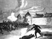 An artist's depiction of the execution of Scott, 1870