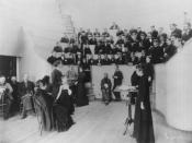 English: Alice Hamilton in an anatomy class, ca. 1893
