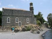 Church of the Primacy of St. Peter on the Sea of Galilee. Traditional site where Jesus Christ appeared to his disciples after his resurrection and, according to Catholic tradition, established Peter's supreme jurisdiction over the Christian church.