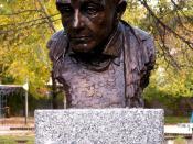 Bust of Krzysztof Kieślowski in Celebrity Alley in Kielce (Poland)