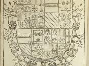 Woodcut coat of arms of Philip II, King of Spain (1527-1598)