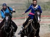 Traditional Kazakh horseback game of