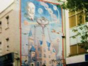 A mural devoted to the author H.G. Wells, located in his hometown of Bromley. It was painted over in the early 21st century.