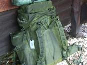 A carrier shoulder strap on a backpack