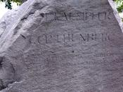 Monument erected by Philipp Franz von Siebold in honor of Engelbert Kaempfer and Carl Peter Thunberg in Dejima in Nagasaki, Japan