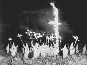 Description: A Ku Klux Klan meeting in Gainesville, Florida, Dec. 31, 1922. Source: http://www.displaysforschools.com/history.html. Portion: Reduced from original size so it is no longer suitable for reproduction. Purpose: To illustrate the article Ku Klu