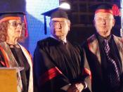 English: Sir Martin Gilbert is awarded hon. Doctorate of Ben Guion Uni. in Beer Sheva, Israel.