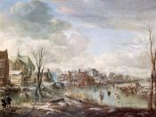 A Frozen River near a Village, with Golfers and Skaters