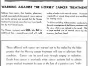 English: FDA poster warning against the use of the Hoxsey method. Product of the Food and Drug Administration (U.S. government agency).