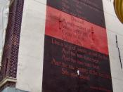 English: The poem Danse Africaine of the American poet Langston Hughes on a wall of the building at the Nieuwe Rijn 46, Leiden, The Netherlands Nederlands: Het gedicht Danse Africaine van de Amerikaanse dichter Langston Hughes op een muur van het gebouw a