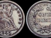 1843 Seated Liberty dime. Original images obtained from http://www.coinfacts.com/dimes/seated_liberty_dimes.html and combined using Photoshop.