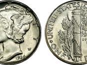 Composite image of a Mercury dime
