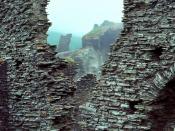 Tintagel Castle: part of ruined curtain wall