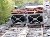 English: Restored inclined plane, Llanberis. The slate valleys are full of disused inclined planes. How great to see one restored to working order.