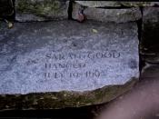 English: The stone commemorating the death of Sarah Good, hanged as a witch during the Salem Witch Trials in 1692. The stone is part of the Salem Witch Trials Tricentennial Memorial (dedicated in 1992) in Salem, Massachusetts, USA.
