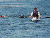 English: Swimmer with kayak in OWS