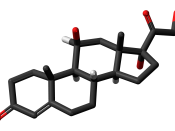 Skeletal stick model (non-chiral hydrogens omitted) of the cortisol molecule, a steroid hormone that controls the body's response to stress. Colour code (click to show) : Black: Carbon, C : White: Hydrogen, H : Red: Oxygen, O
