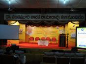 English: Telugu University Auditorium during the Philosophy of Indian Management and Ethical Values Seminar