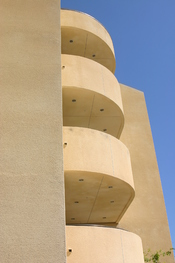 An example of Pepperdine's Mediterranean architecture, The Keck Science Center