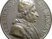 Pope Clement XI on an old coin.