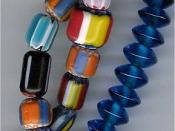 Chevron bead and Indian glass bead strings